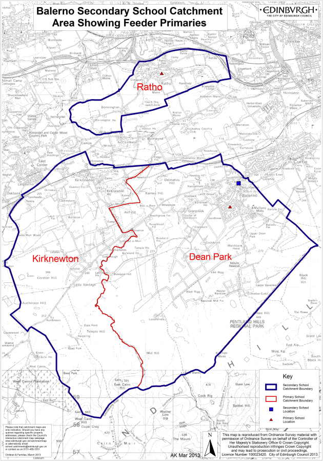 This graphic details Balerno Comminuty High School's catchment area.